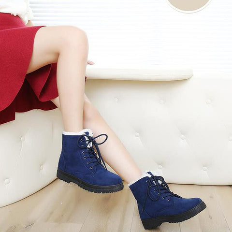 Suede Pure Color Round Toe Flat Heel Lace Up Snow Boots 9 Dark blue