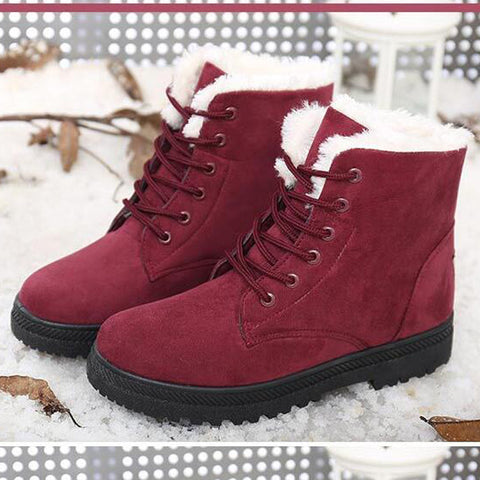 Suede Pure Color Round Toe Flat Heel Lace Up Snow Boots 9.5 Dark red
