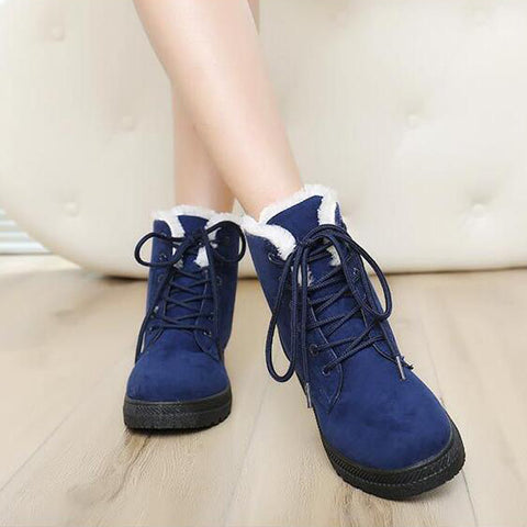 Suede Pure Color Round Toe Flat Heel Lace Up Snow Boots 9.5 Dark blue