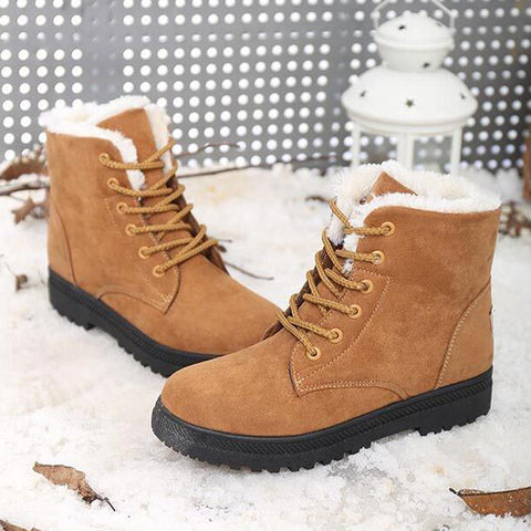 Suede Pure Color Round Toe Flat Heel Lace Up Snow Boots 9.5 Brown