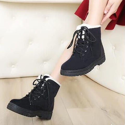 Suede Pure Color Round Toe Flat Heel Lace Up Snow Boots 9 Black