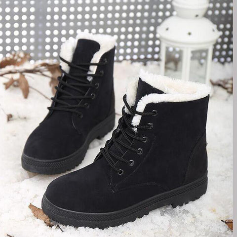 Suede Pure Color Round Toe Flat Heel Lace Up Snow Boots 9.5 Black