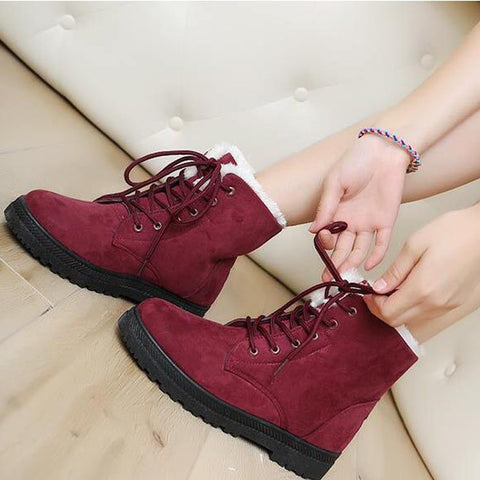 Suede Pure Color Round Toe Flat Heel Lace Up Snow Boots 8.5 Dark red