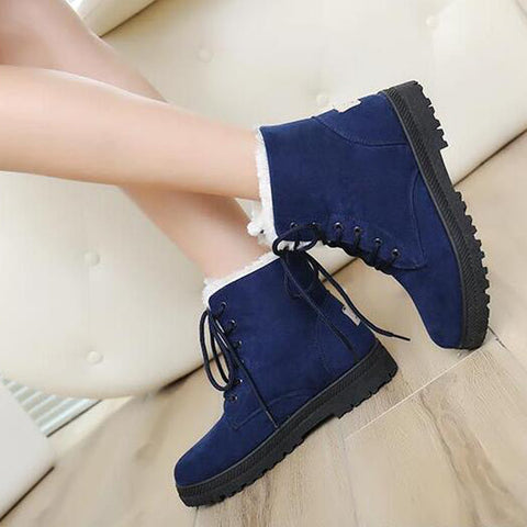 Suede Pure Color Round Toe Flat Heel Lace Up Snow Boots 8.5 Dark blue