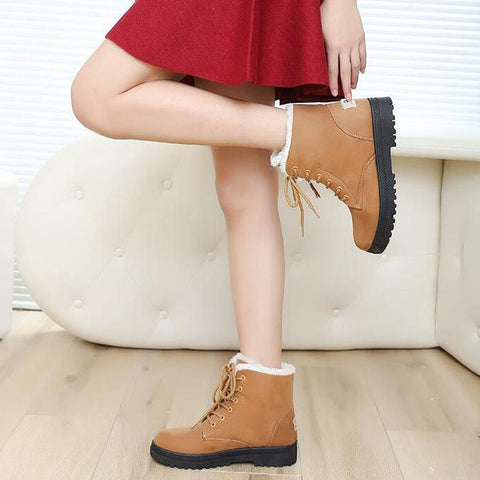 Suede Pure Color Round Toe Flat Heel Lace Up Snow Boots 9 Brown
