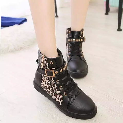 PU Mixed Color Round Toe Flat Heel Side Zipper Leopard Print Sneakers 7 Black