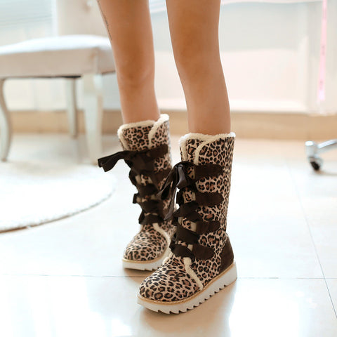 Suede Lace Up Pure Color Ribbon Round Toe Flat Heel Mid-calf Boots 8.5 Leopard