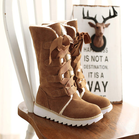 Suede Lace Up Pure Color Ribbon Round Toe Flat Heel Mid-calf Boots 9.5 Brown