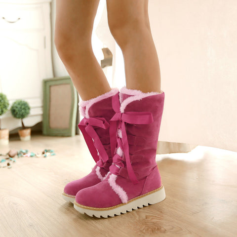 Suede Lace Up Pure Color Ribbon Round Toe Flat Heel Mid-calf Boots 8.5 Deep pink