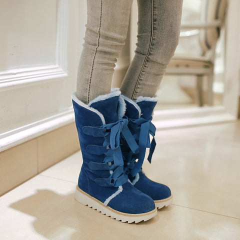 Suede Lace Up Pure Color Ribbon Round Toe Flat Heel Mid-calf Boots 8.5 Dark blue
