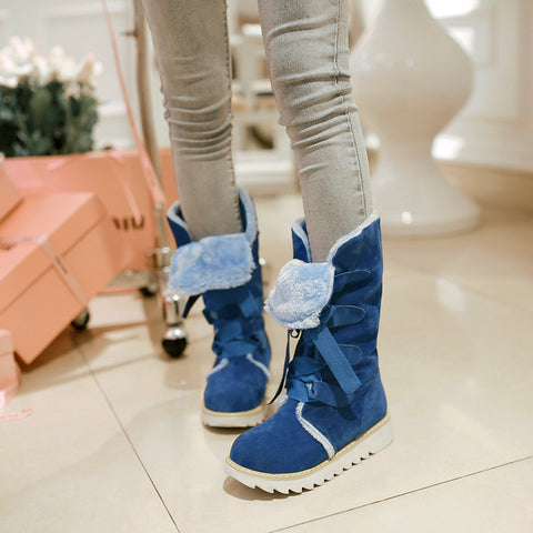 Suede Lace Up Pure Color Ribbon Round Toe Flat Heel Mid-calf Boots 9 Dark blue