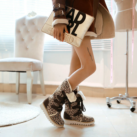 Suede Lace Up Pure Color Ribbon Round Toe Flat Heel Mid-calf Boots 9 Leopard