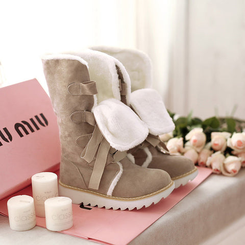 Suede Lace Up Pure Color Ribbon Round Toe Flat Heel Mid-calf Boots 9.5 Camel
