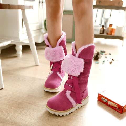Suede Lace Up Pure Color Ribbon Round Toe Flat Heel Mid-calf Boots 9 Deep pink