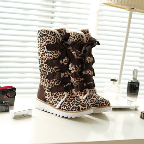 Suede Lace Up Pure Color Ribbon Round Toe Flat Heel Mid-calf Boots 9.5 Leopard