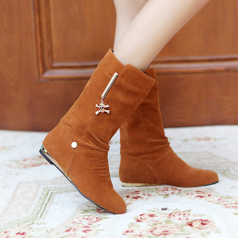 Suede Pure Color Round Toe Metal Skeleton Decoration Flat Heel Mid-calf Boots 9.5 Brown
