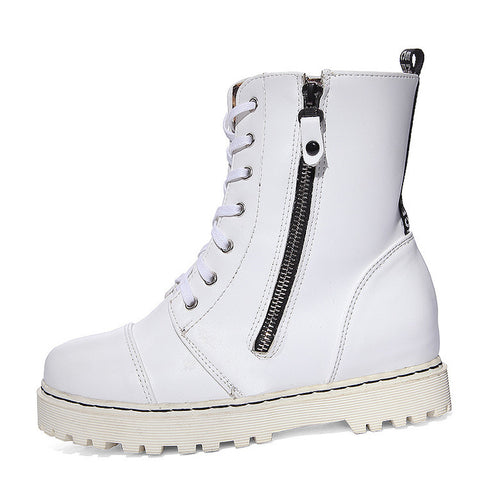 PU Pure Color Round Toe Side Zipper Flat Heel Martin Boots 9 White