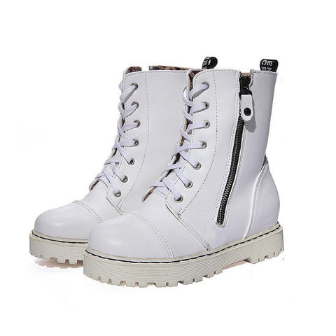 PU Pure Color Round Toe Side Zipper Flat Heel Martin Boots 8.5 White
