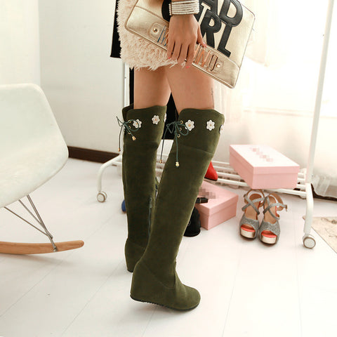 Suede Pure Color Round Toe Hidden Heel Flower Over Knee Boots With Side Zipper 43 Olive