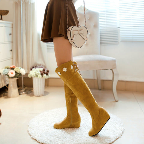 Suede Pure Color Round Toe Hidden Heel Flower Over Knee Boots With Side Zipper 42 Light brown
