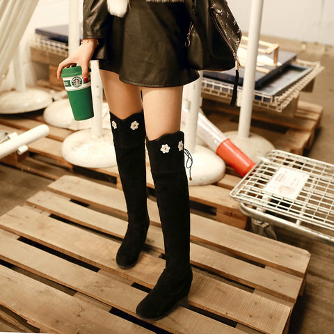 Suede Pure Color Round Toe Hidden Heel Flower Over Knee Boots With Side Zipper 42 Black