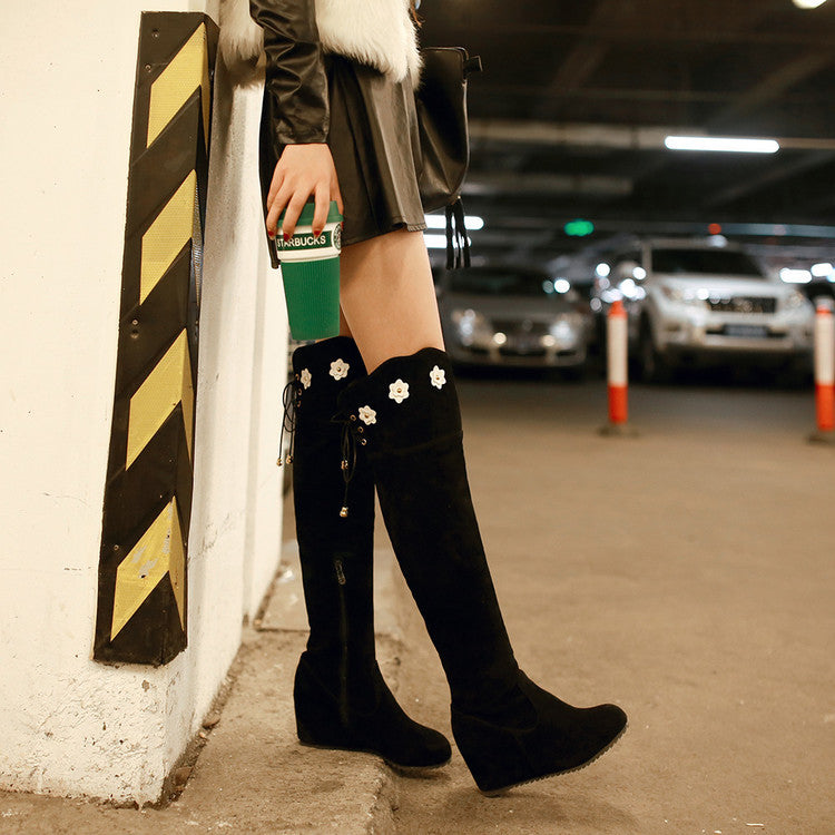 Suede Pure Color Round Toe Hidden Heel Flower Over Knee Boots With Side Zipper 41 Black