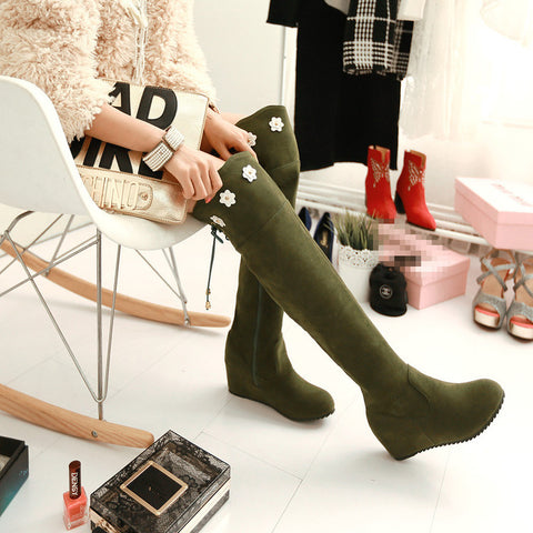 Suede Pure Color Round Toe Hidden Heel Flower Over Knee Boots With Side Zipper 42 Olive