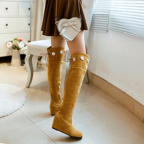 Suede Pure Color Round Toe Hidden Heel Flower Over Knee Boots With Side Zipper 43 Light brown