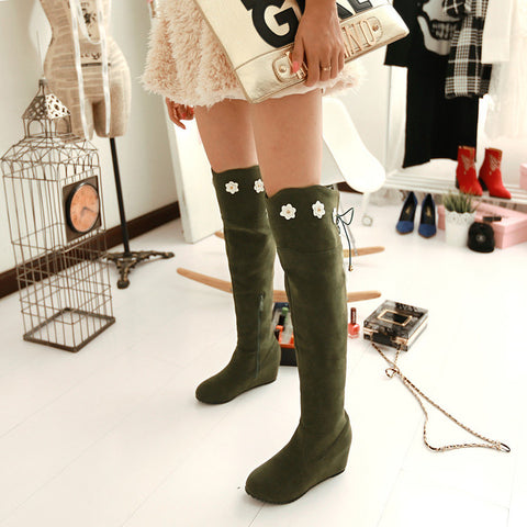Suede Pure Color Round Toe Hidden Heel Flower Over Knee Boots With Side Zipper 41 Olive