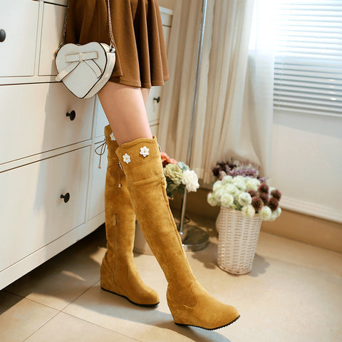 Suede Pure Color Round Toe Hidden Heel Flower Over Knee Boots With Side Zipper 41 Light brown