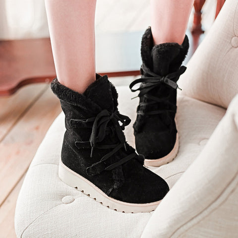 Fur Pure Color Round Toe Flat Heel Lace Up Snow Boots 43 Black
