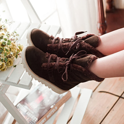 Fur Pure Color Round Toe Flat Heel Lace Up Snow Boots 43 Brown