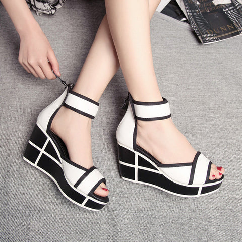 Head Layer Cowhide Mixed Color Open Toe Wedge Heel Back Zipper Sandals 7 White