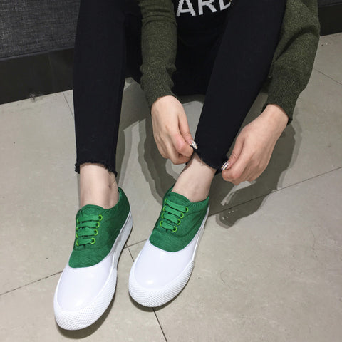 Head Layer Cowhide Mixed Color Round Toe Flat Heel Lace Up Embellished Loafers 9 Green