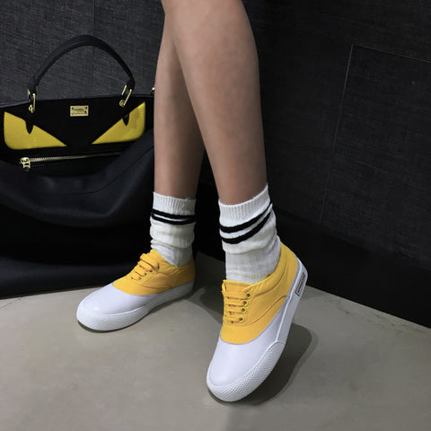 Head Layer Cowhide Mixed Color Round Toe Flat Heel Lace Up Embellished Loafers 9.5 Yellow