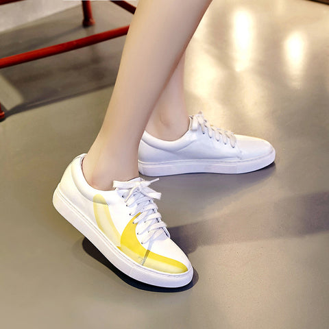 Round Toe Flat Heel Lace Up Fruit Printing White Sneaker 7.5 White
