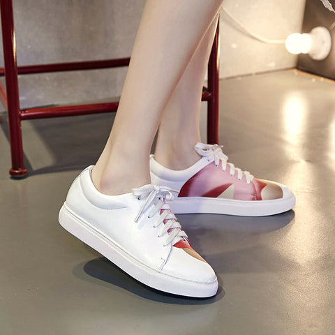 Round Toe Flat Heel Lace Up Fruit Printing White Sneaker 7 White