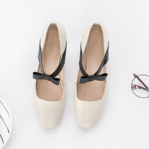 Head Layer Cowhide Mixed Color Square Toe Block Heel Bowtie Mary Janes 8 Beige