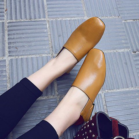 Head Layer Cowhide Mixed Color Square Toe Middle Block Heel Loafers 7.5 Brown
