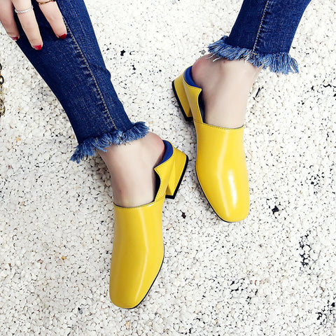 Head Layer Cowhide Mixed Color Square Toe Middle Block Heel Loafers 8.5 Yellow