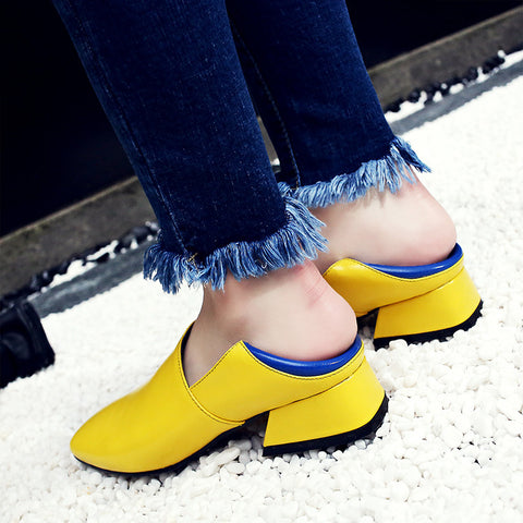Head Layer Cowhide Mixed Color Square Toe Middle Block Heel Loafers 7.5 Yellow