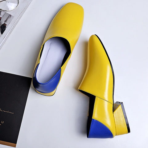 Head Layer Cowhide Mixed Color Square Toe Middle Block Heel Loafers 8 Yellow