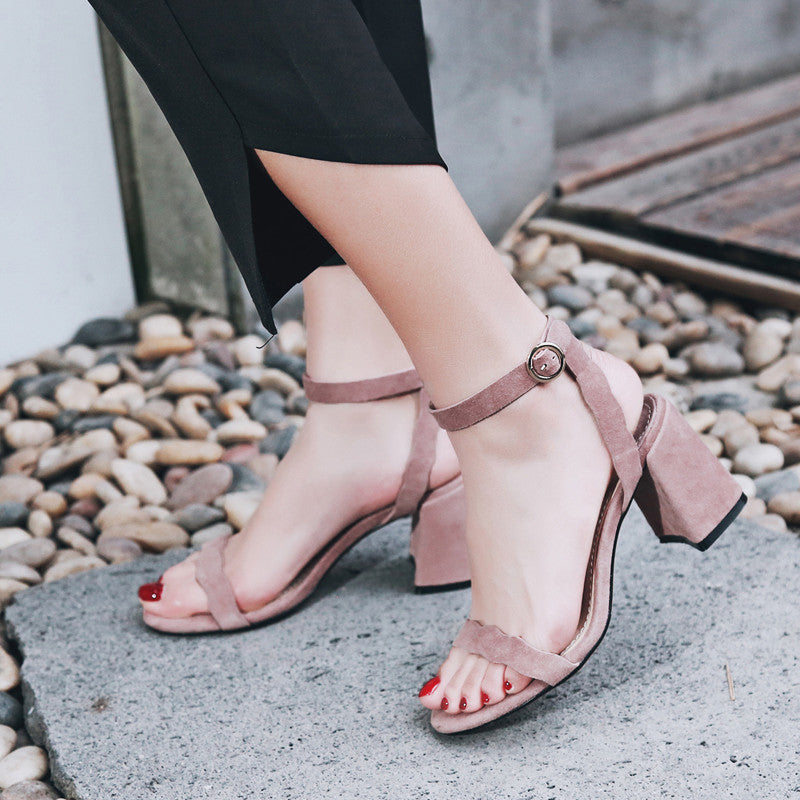 Suede Pure Color Open Toe Block Heel Ankle Strap Sandals 7.5 Pink