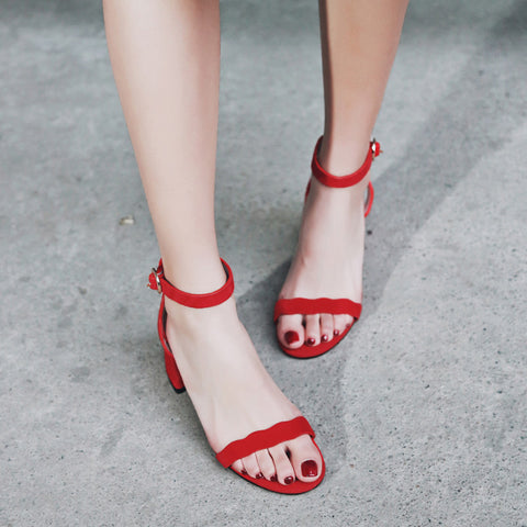 Suede Pure Color Open Toe Block Heel Ankle Strap Sandals 7.5 Red