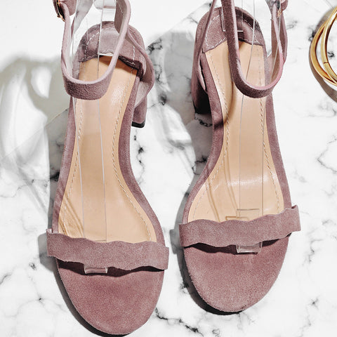 Suede Pure Color Open Toe Block Heel Ankle Strap Sandals 7 Pink