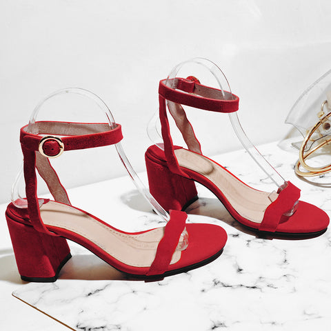 Suede Pure Color Open Toe Block Heel Ankle Strap Sandals 7 Red