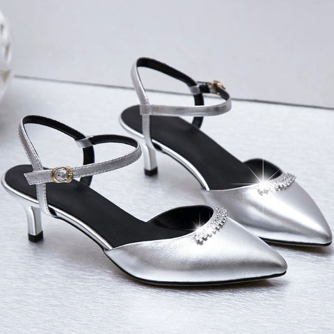 Head Layer Cowhide Pointy Toe Kitten Heel Metal Buckle Belt Crystal Sandals 7.5 Silver