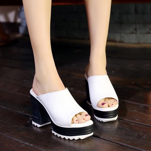 Head Layer Cowhide Pure Color Open Toe Block Heel Platform Mules 7 White
