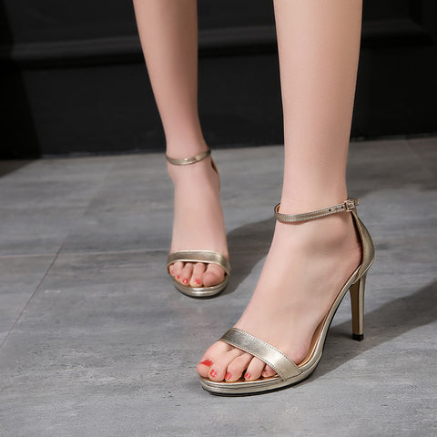 Head Layer Cowhide Pure Color Open Toe One-buckle Belt Stiletto Heel Sandals 7 Gold
