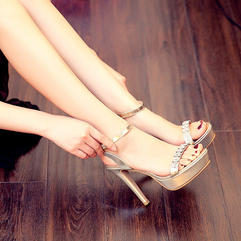 Open Toe Stiletto Heel Crystal Ankle Strap Platform Sandals 7 Gold